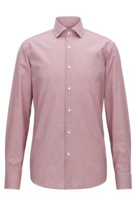 Fein kariertes Regular-Fit Hemd aus bügelleichter Baumwolle, Rot
