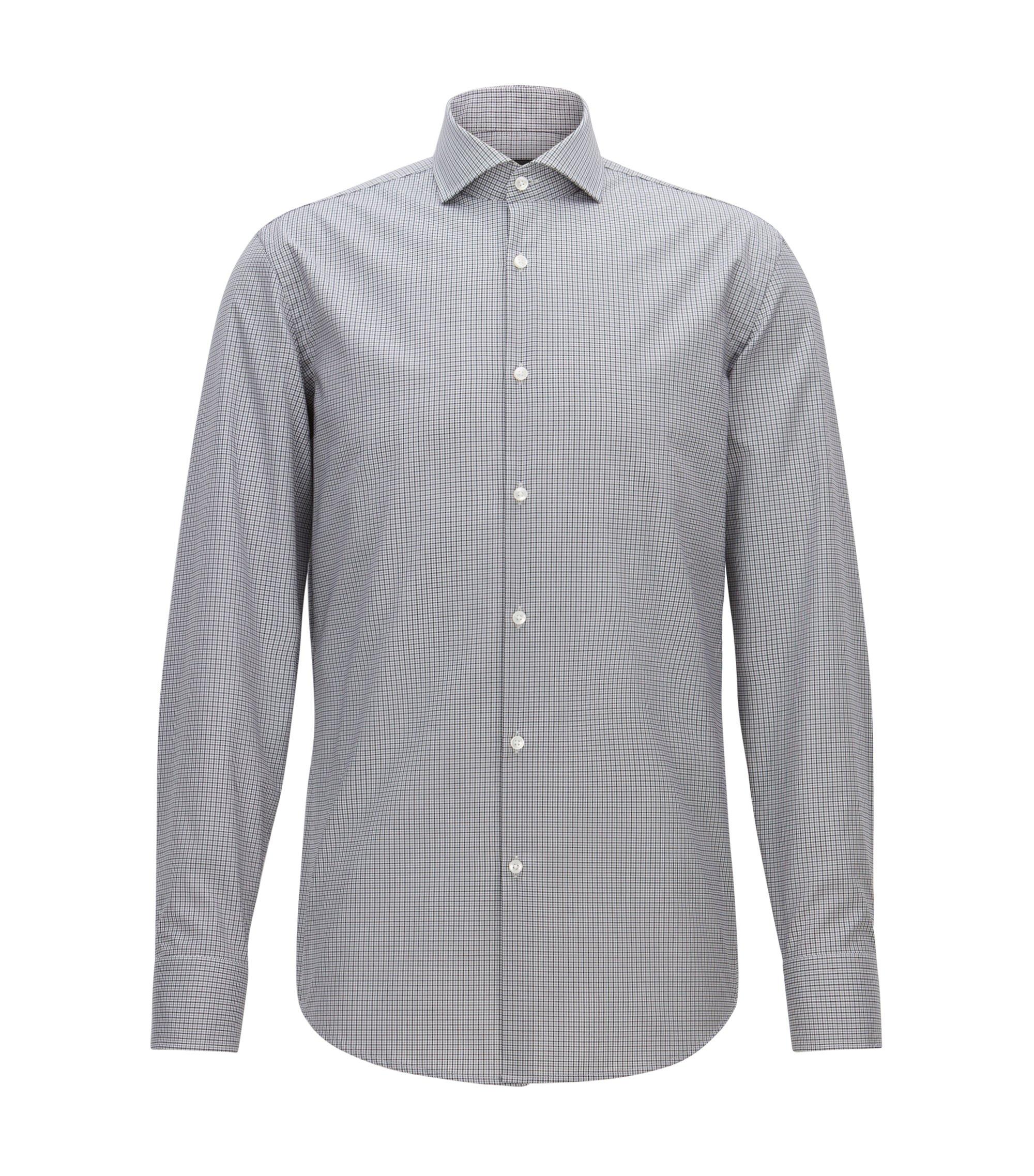 Gemakkelijk te strijken, slim-fit overhemd van katoen met vichyruiten, Grijs