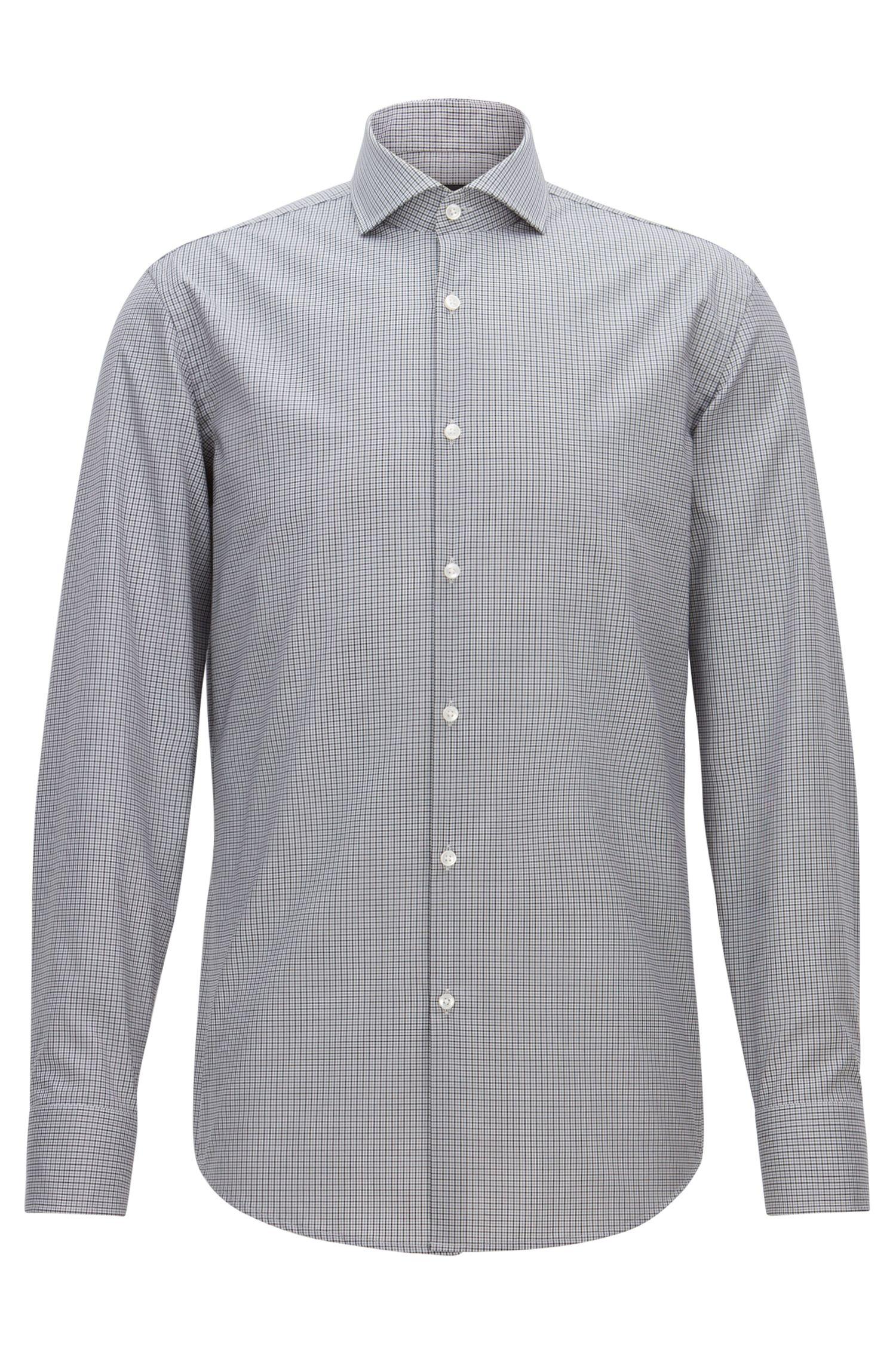 Bügelleichtes Slim-Fit-Hemd aus Baumwolle mit Vichy-Karo