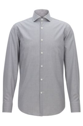 Camicia slim fit facile da stirare in cotone a quadri Vichy, Grigio