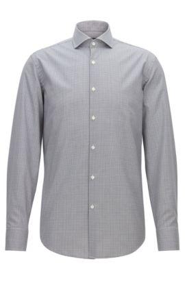 Chemise Slim Fit facile à repasser en coton à carreaux vichy, Noir