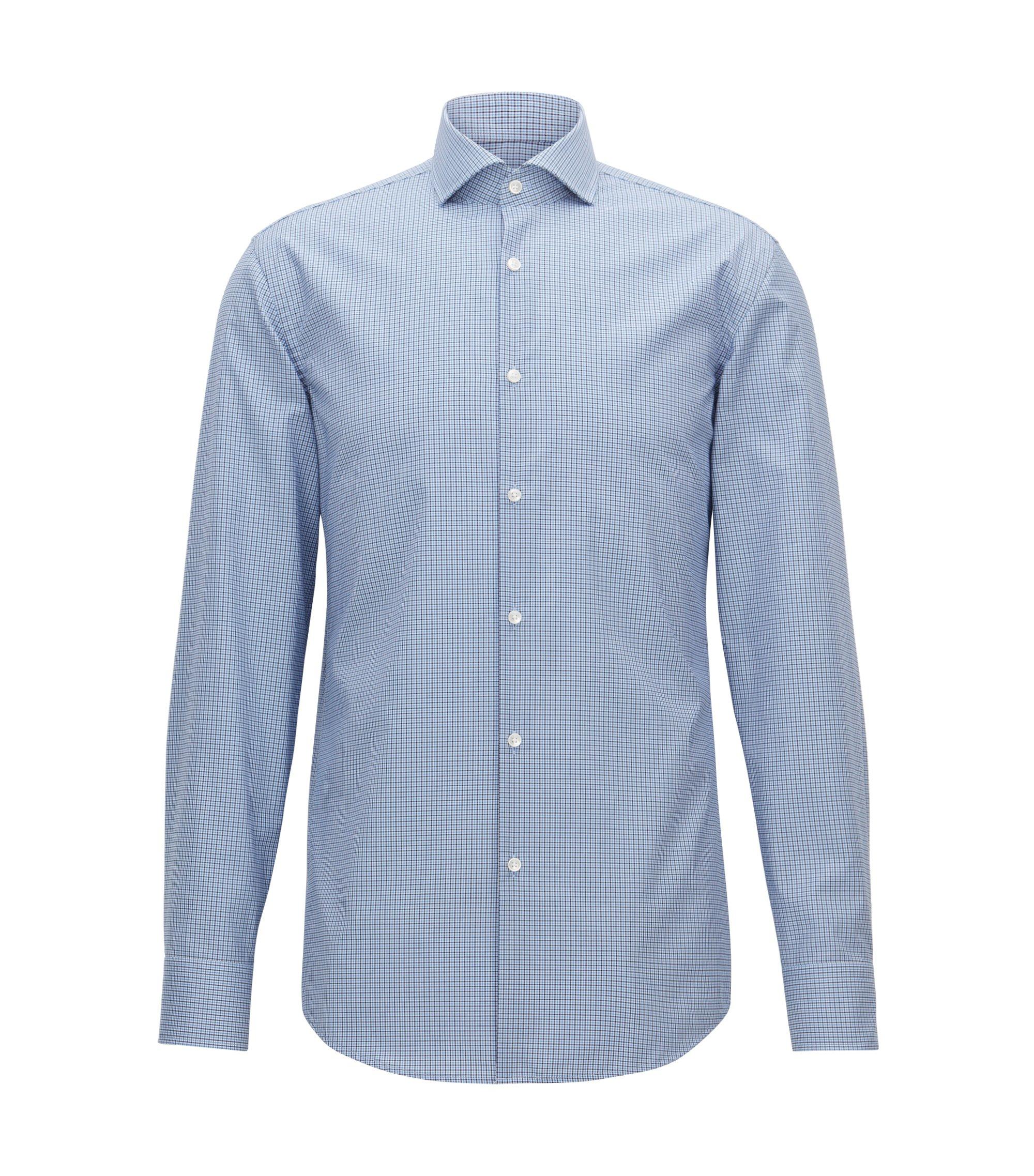 Camicia slim fit facile da stirare in cotone a quadri Vichy, Celeste