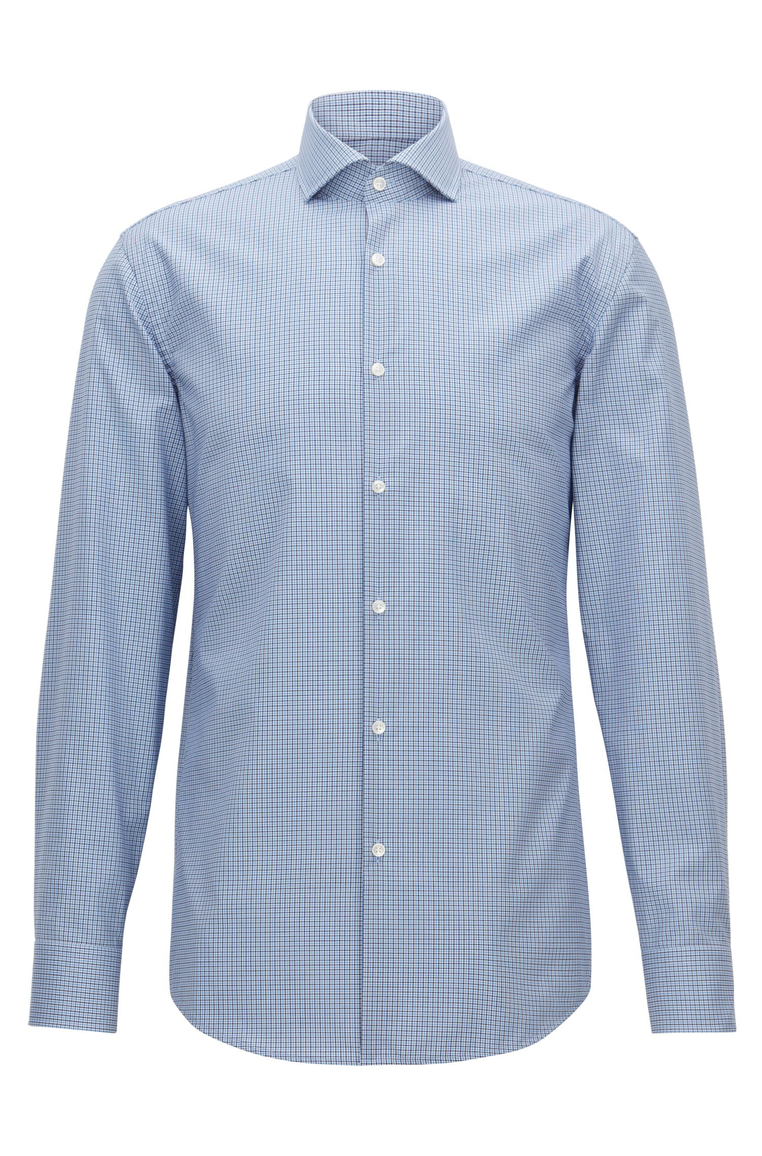 Slim-fit easy-iron shirt in Vichy check cotton