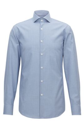 Slim-fit easy-iron shirt in Vichy check cotton, Light Blue