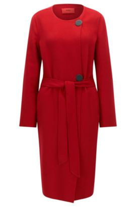 Regular-fit coat in a wool blend, Red