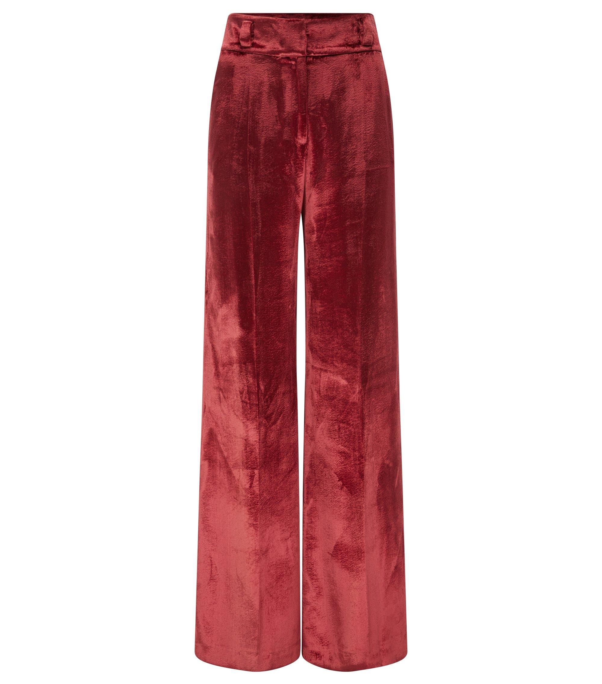 Pantalón oversize fit de terciopelo con pernera ancha, Rojo oscuro