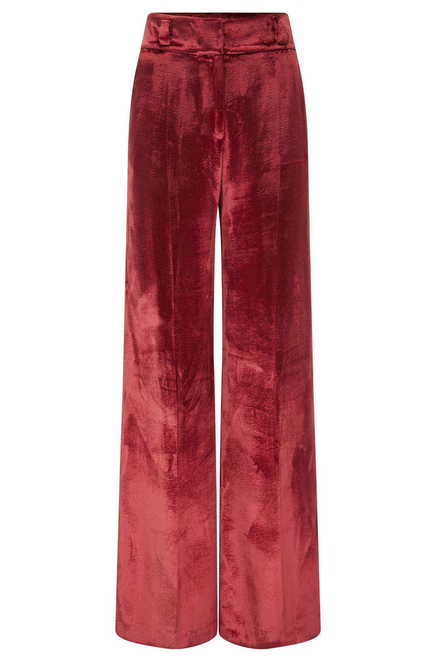 Oversize-Hose aus Material-Mix mit Seide mit weitem Beinverlauf