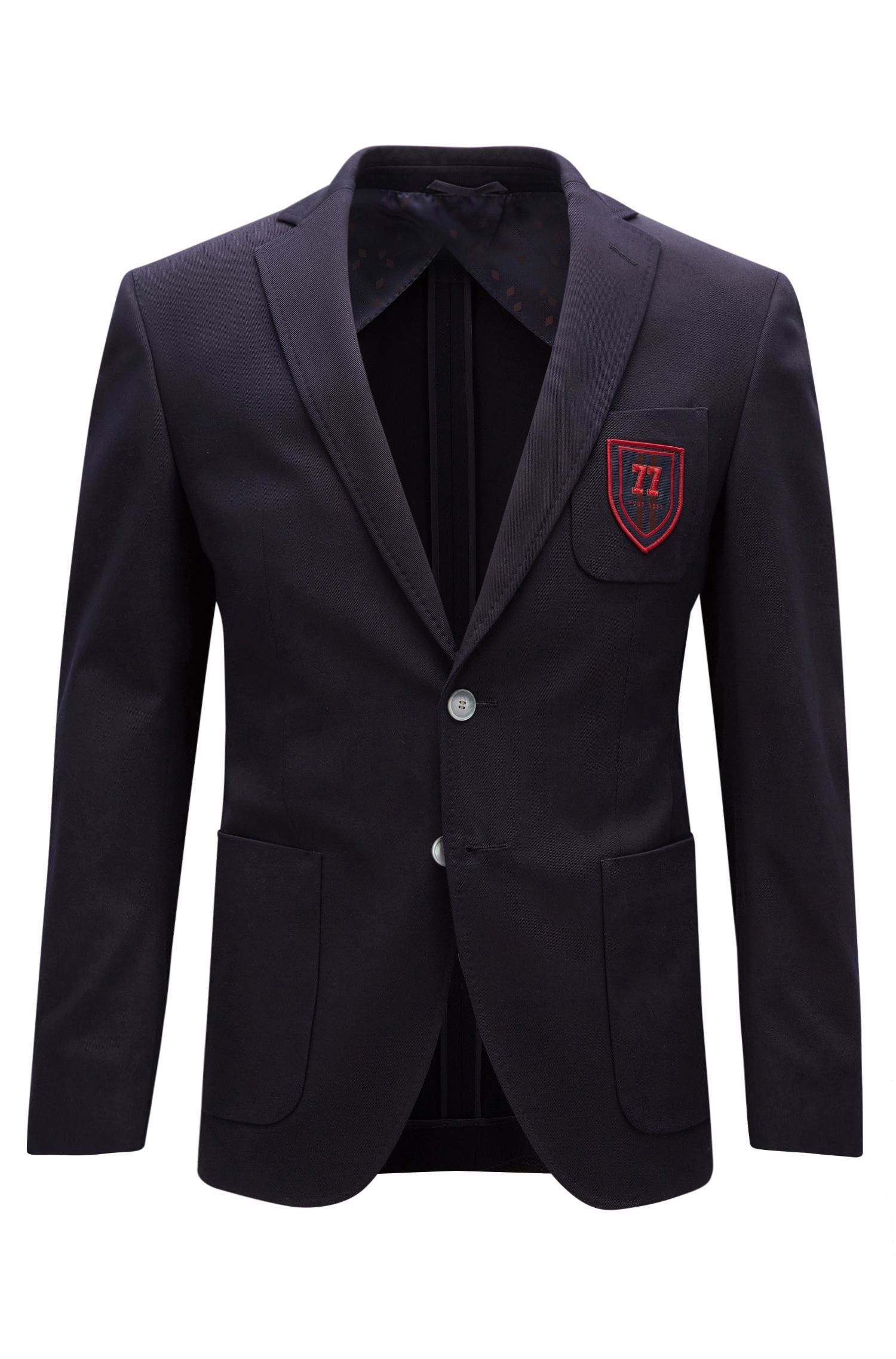 Extra-slim-fit stretch-cotton jacket with crest