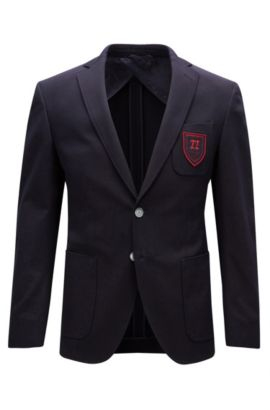 Extra-slim-fit stretch-cotton jacket with crest, Dark Blue
