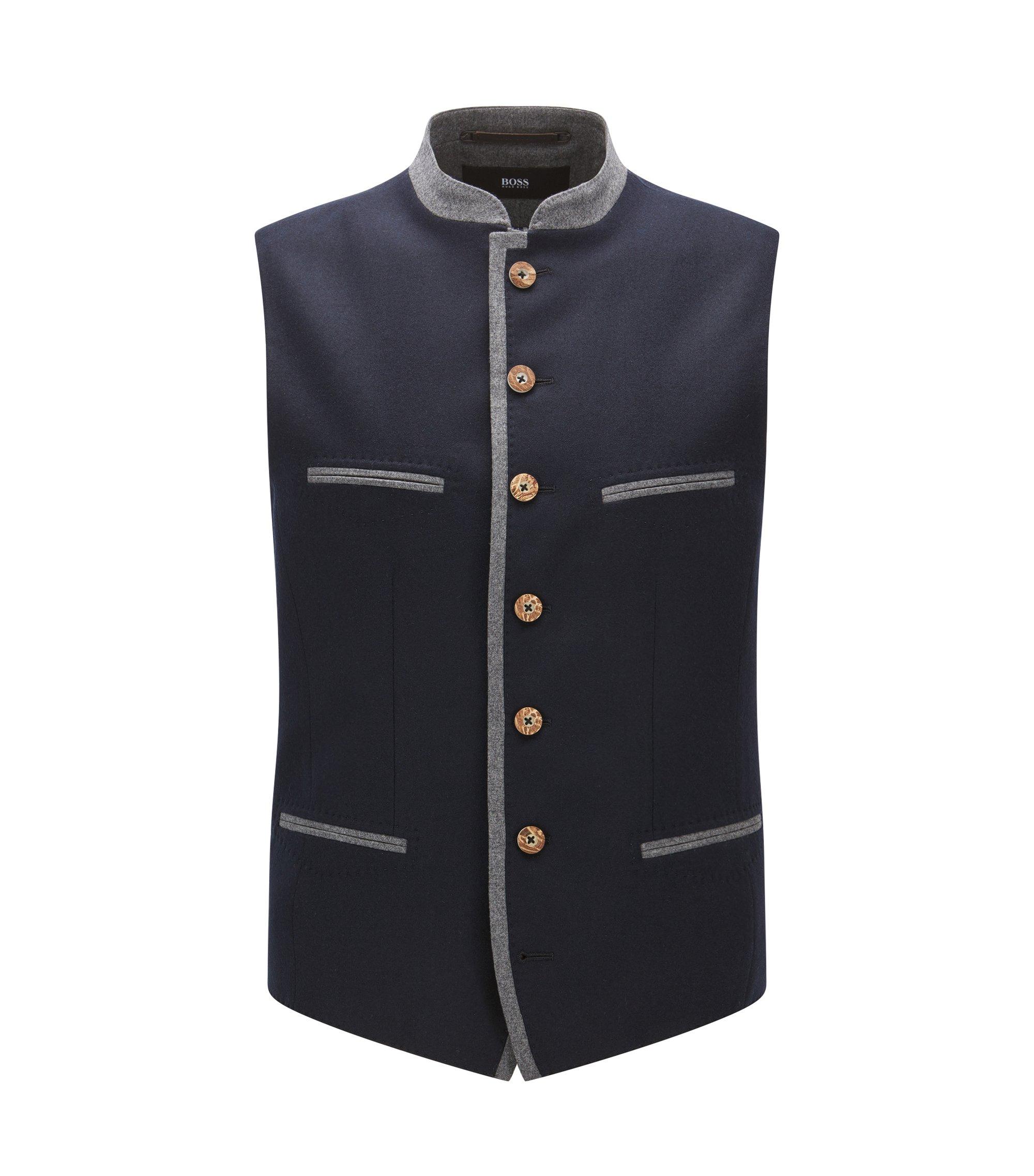 Extra-slim-fit wool-blend waistcoat, Dark Blue