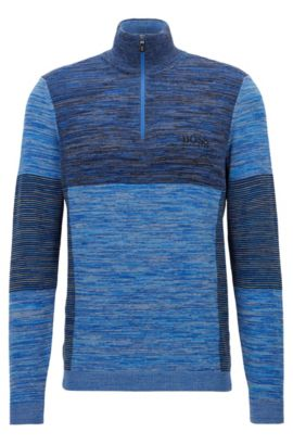 Regular-Fit Pullover aus elastischem Baumwoll-Mix, Blau