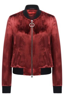 Velvet bomber jacket in a regular fit, Dark Red
