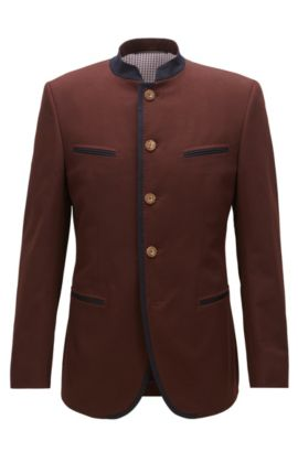 Veste Extra Slim Fit en coton stretch, Rouge sombre