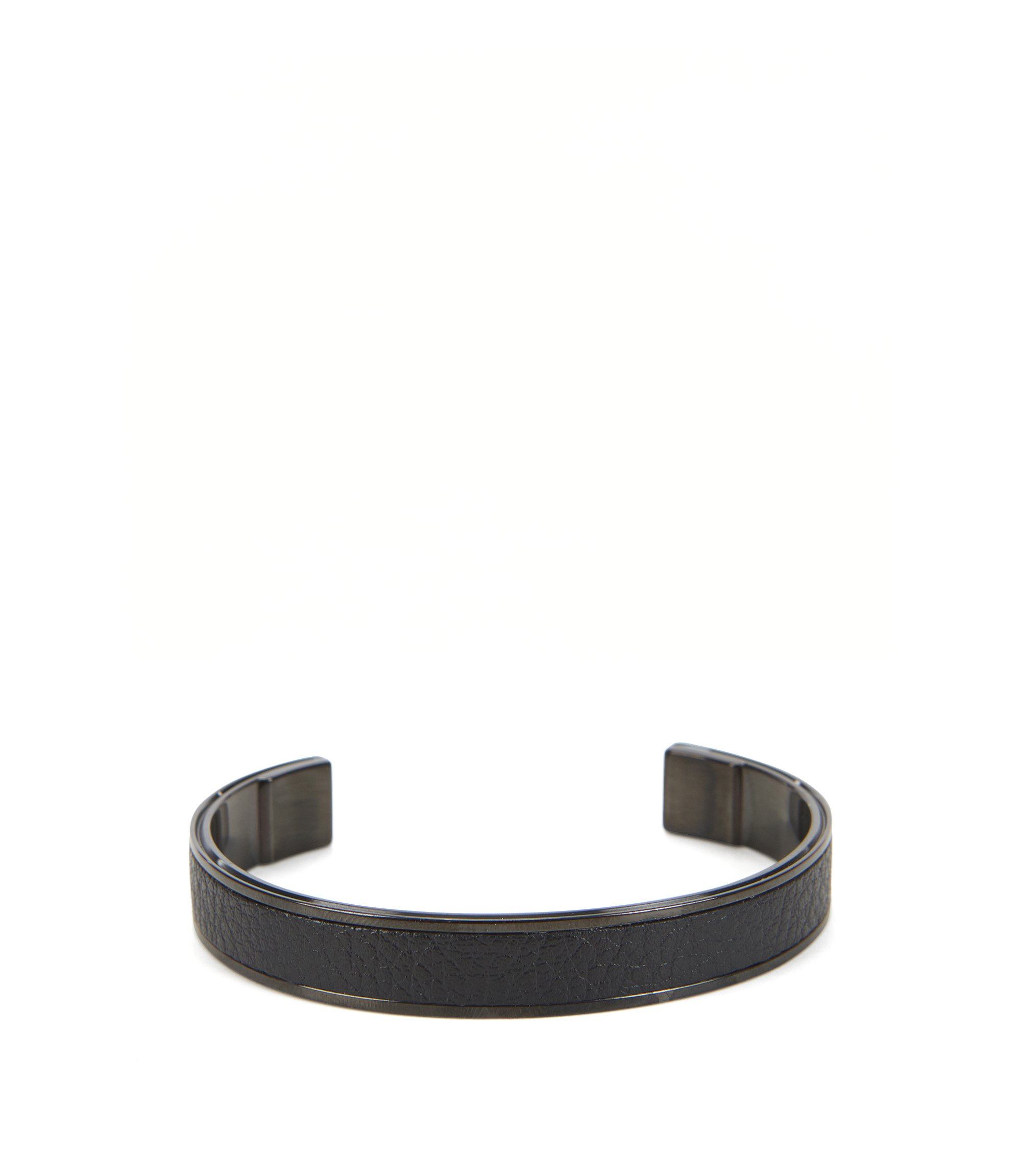Black-plated cuff with leather inlay, Black