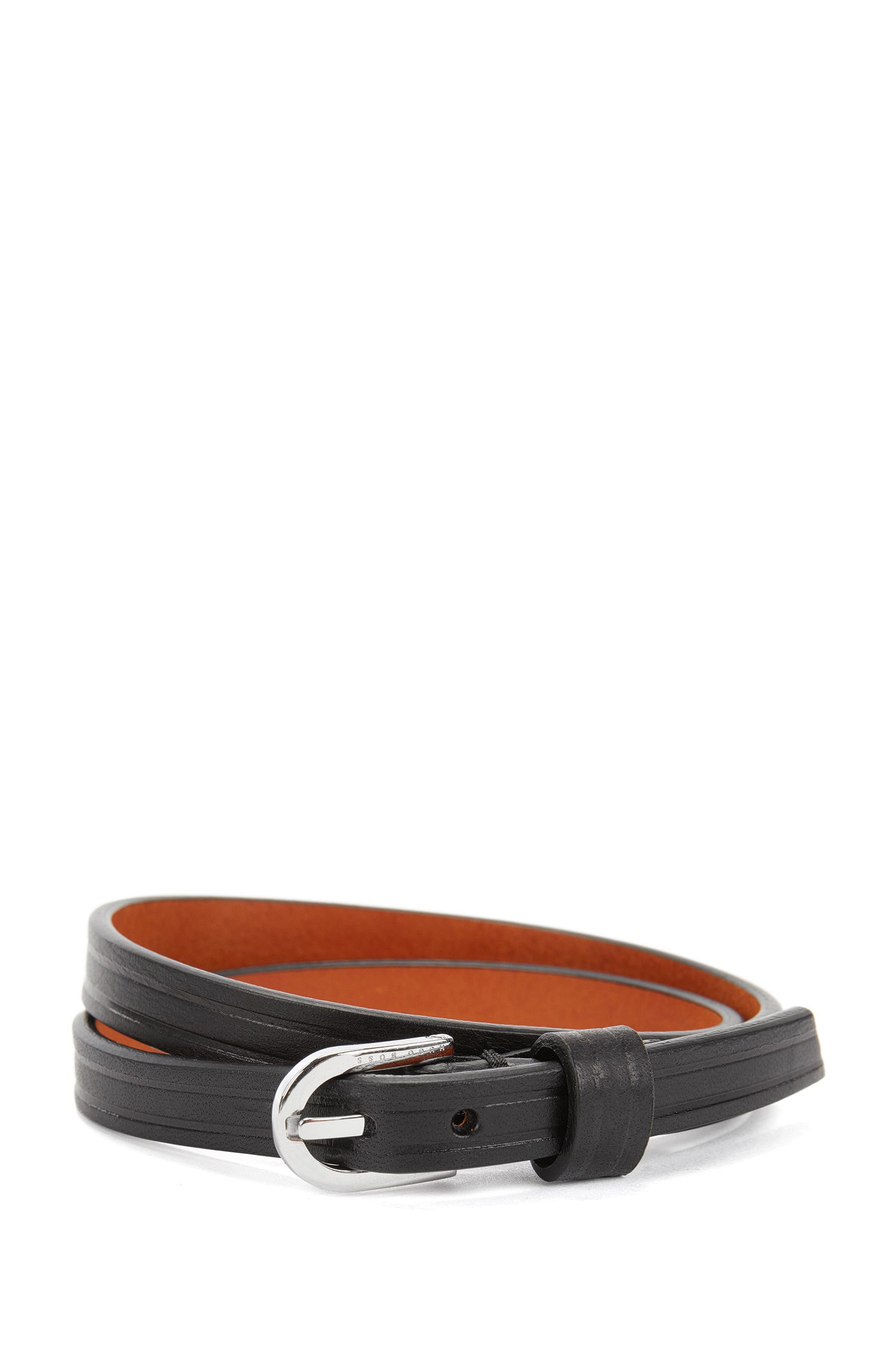 Double-wrap leather bracelet with buckle