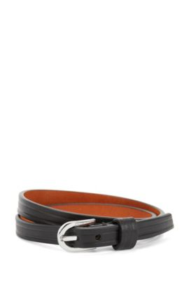 Double-wrap leather bracelet with buckle, Black