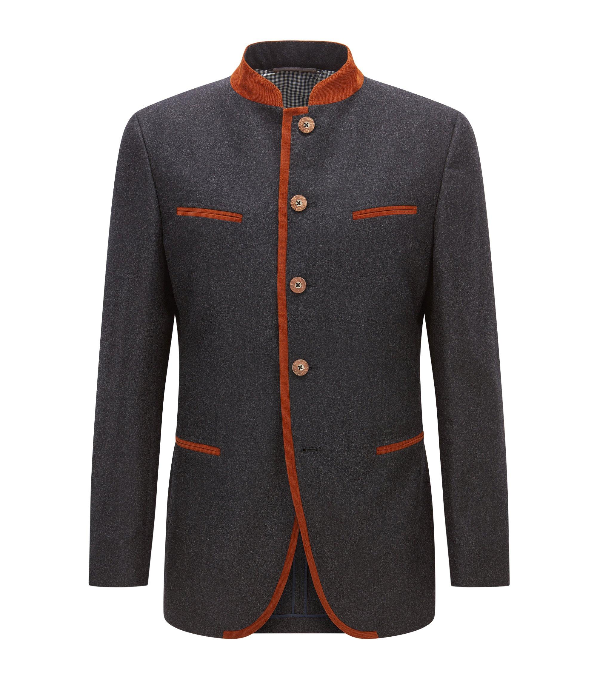 Extra-slim-fit jacket in a wool blend, Dark Grey