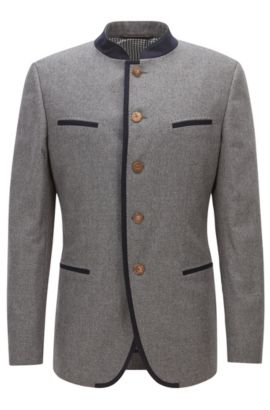 Extra-slim-fit jacket in a wool blend, Grey