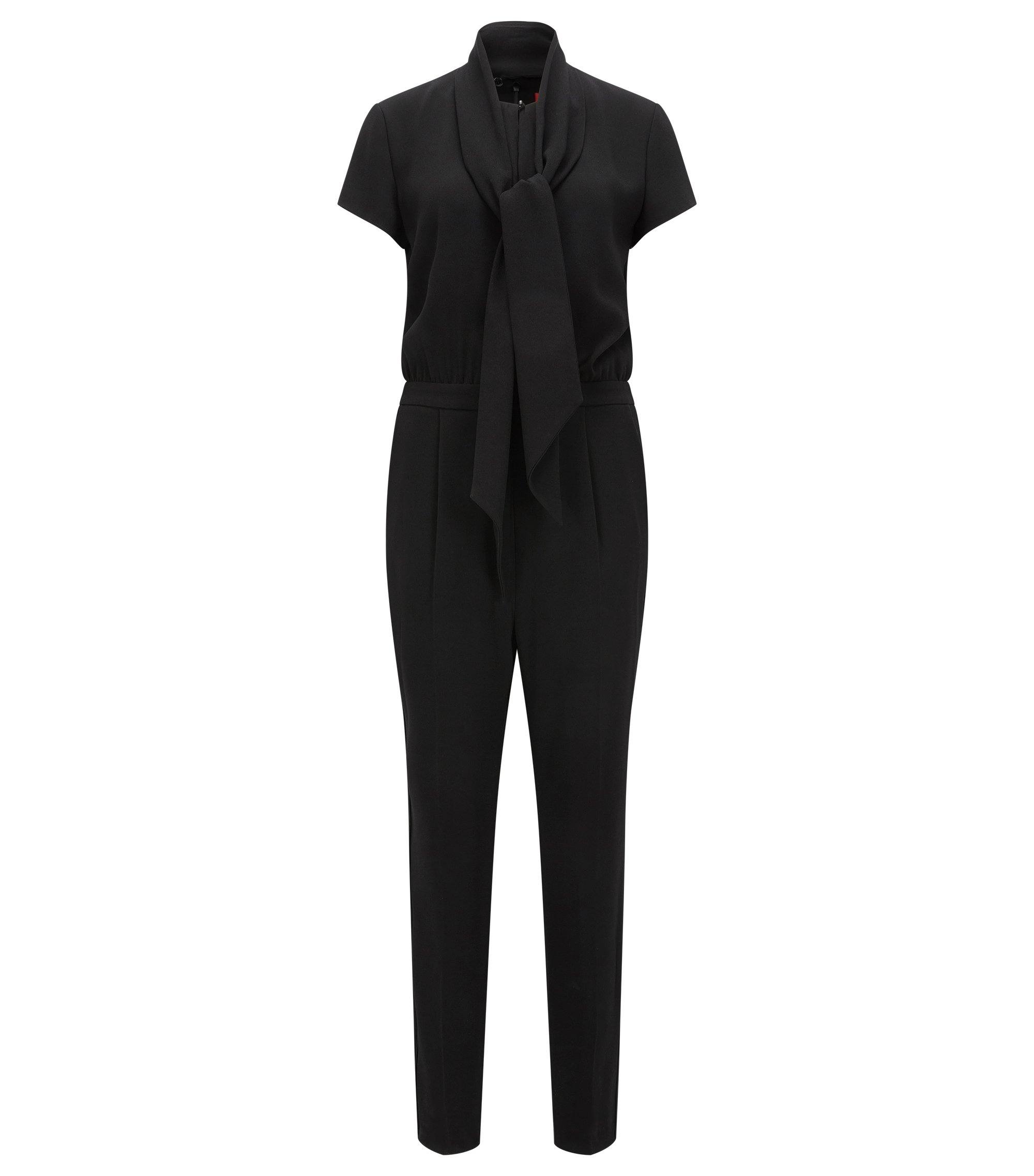Tuta jumpsuit relaxed fit in crêpe, Nero