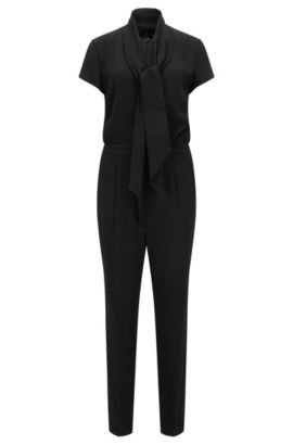 Relaxed-fit jumpsuit van crêpe, Zwart