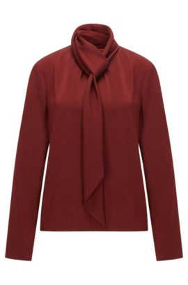 Long-sleeved top in crêpe, Dark Red