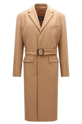 Relaxed-fit coat in virgin wool and cashmere, Beige