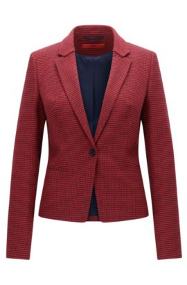 Slim-fit jacket in micro-pattern fabric, Patterned