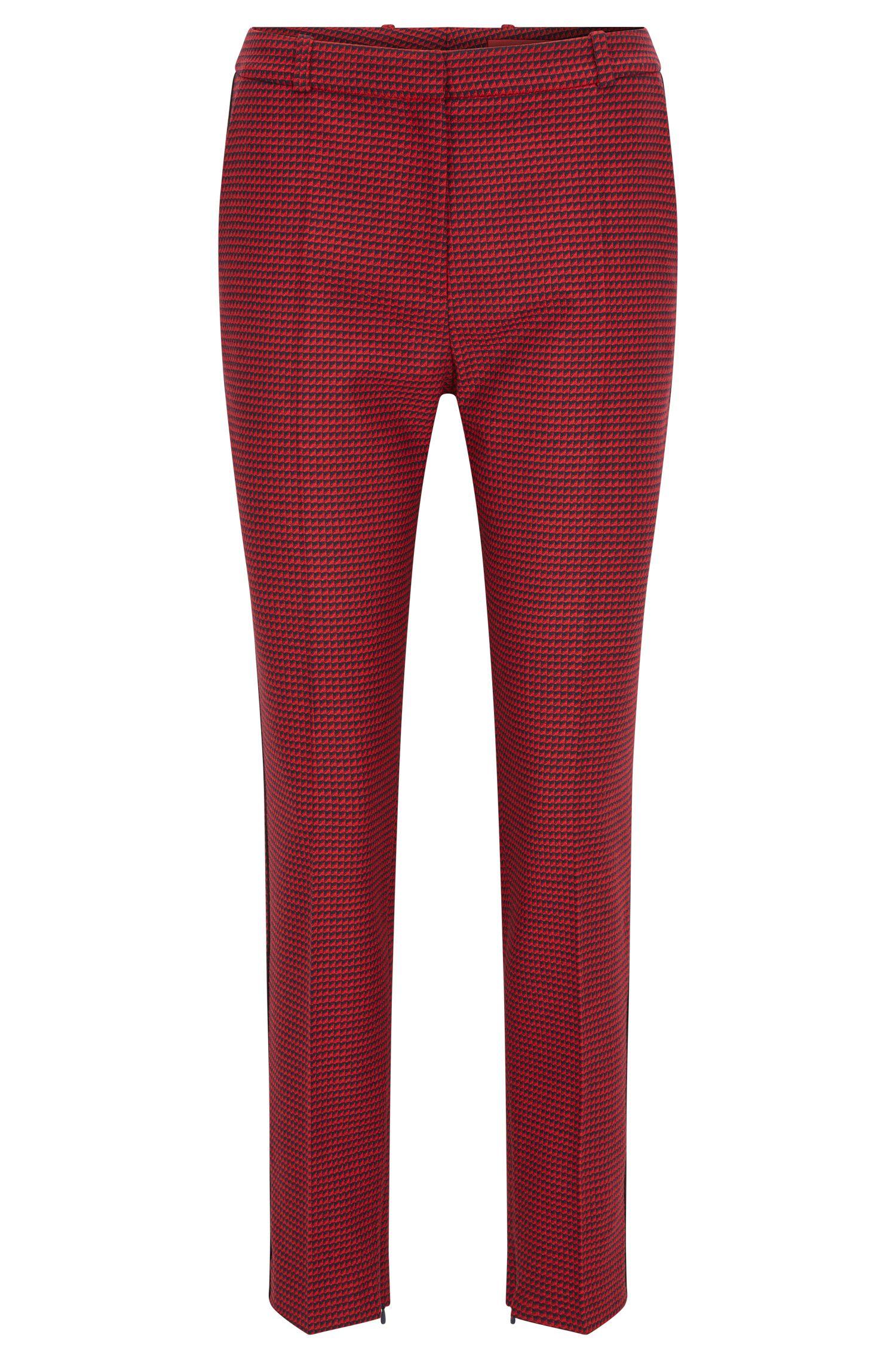 Gemusterte Slim-Fit Hose aus elastischem Material-Mix mit Wolle