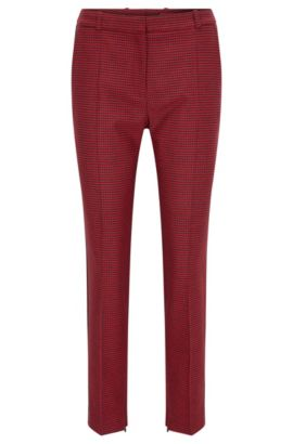 Slim-fit trousers in micro-pattern fabric, Patterned