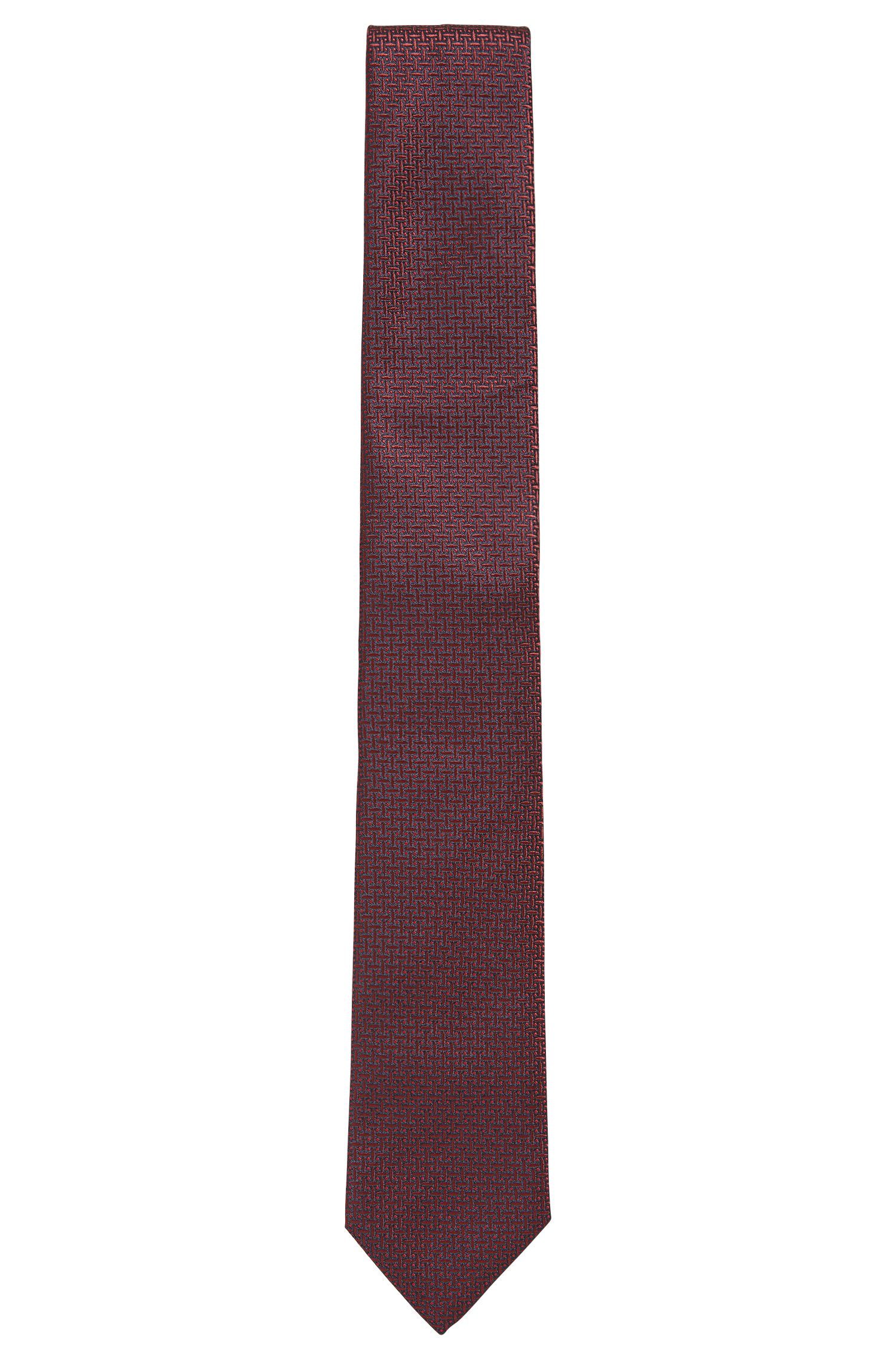 Silk tie in a micro-patterned jacquard