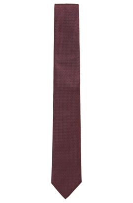 Silk tie in a micro-patterned jacquard, Red