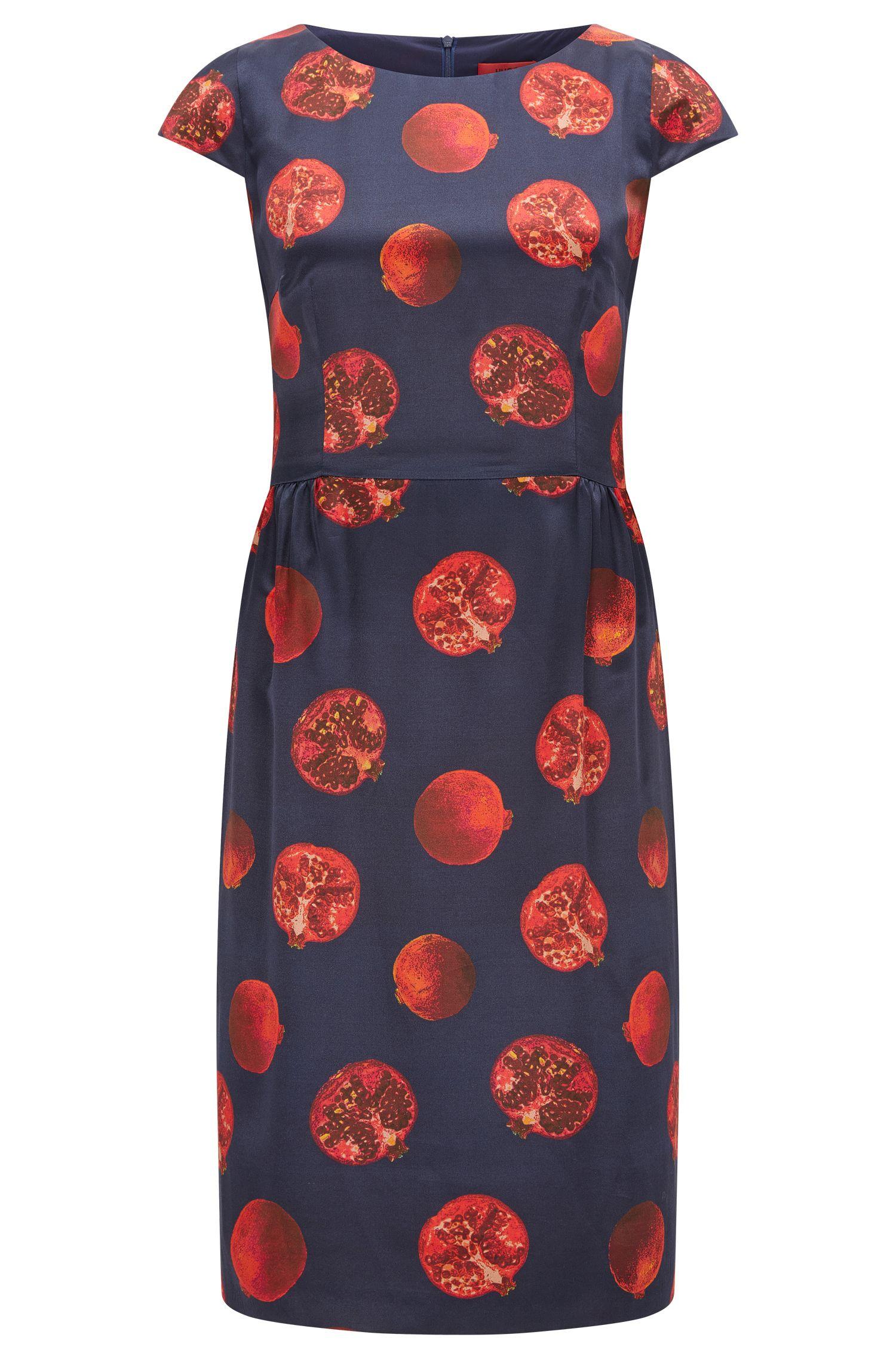 Bedrucktes Regular-Fit Kleid aus Material-Mix mit Seide