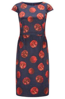 Bedrucktes Regular-Fit Kleid aus Material-Mix mit Seide, Gemustert