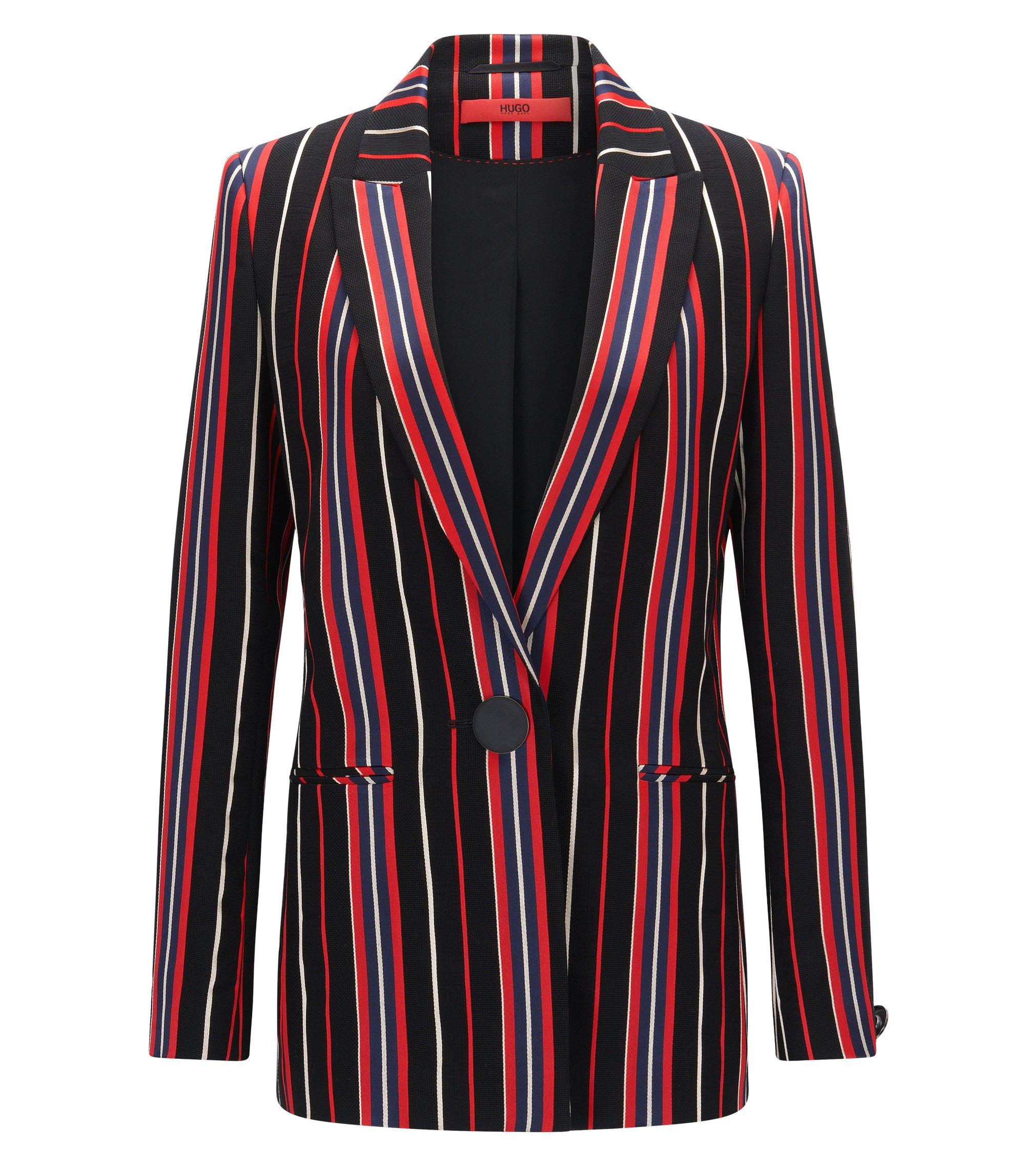 Regular-fit jacket in a striped cotton blend, Patterned