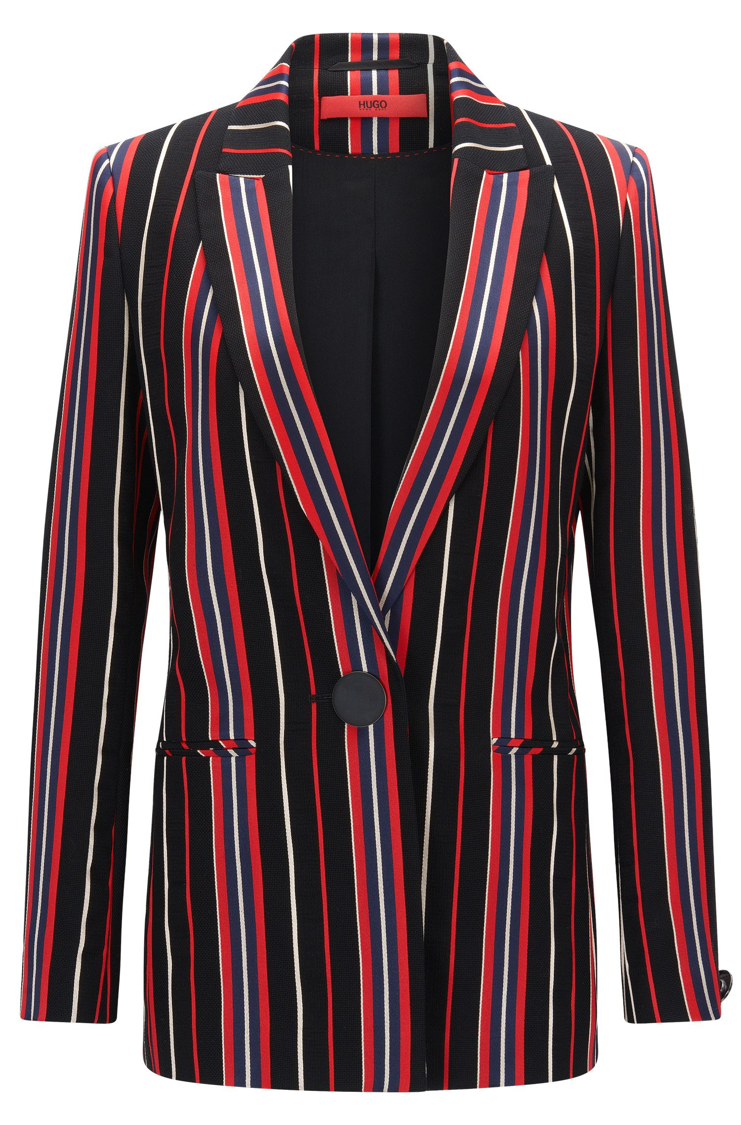 Regular-fit jacket in a striped cotton blend