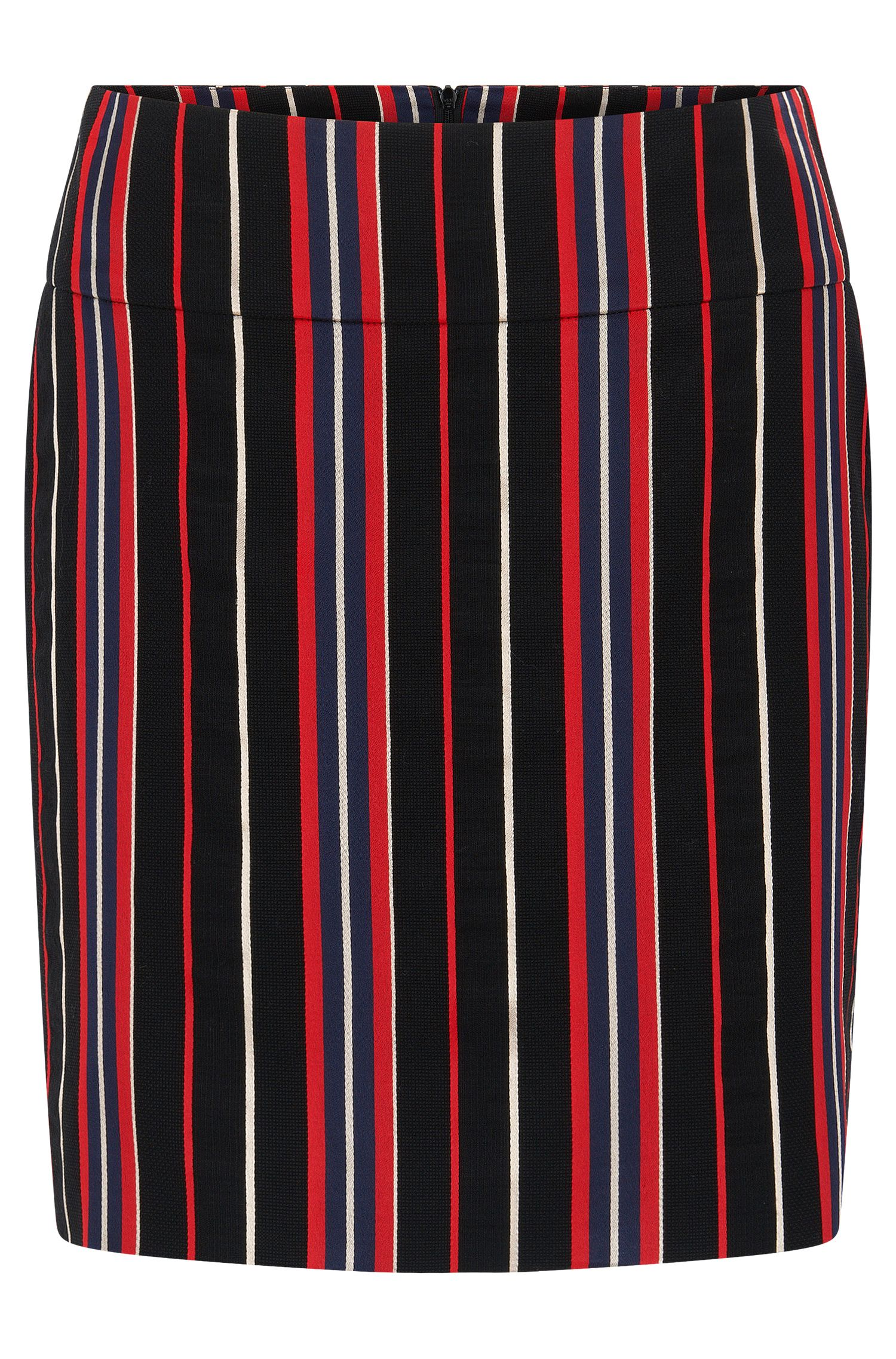 Regular-fit skirt in a striped cotton blend