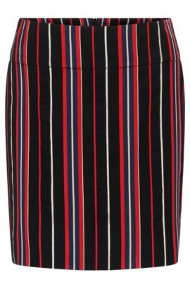 Regular-fit skirt in a striped cotton blend, Patterned