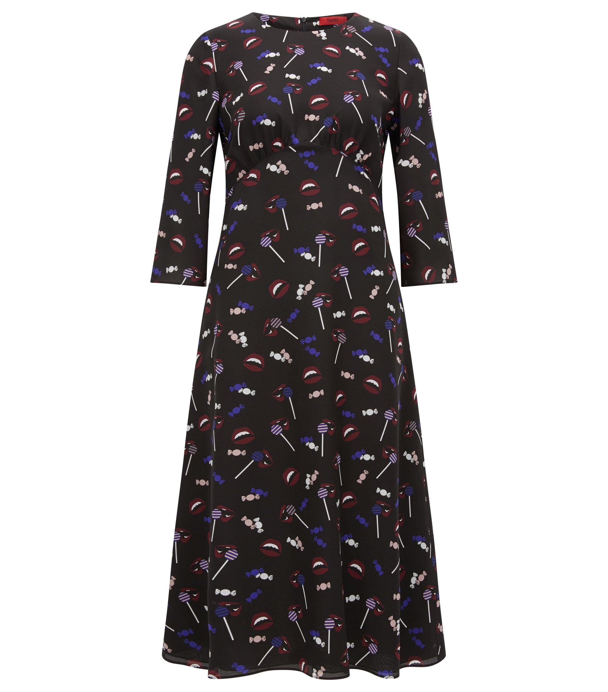 Midi-jurk van bedrukte zijde, Bedrukt