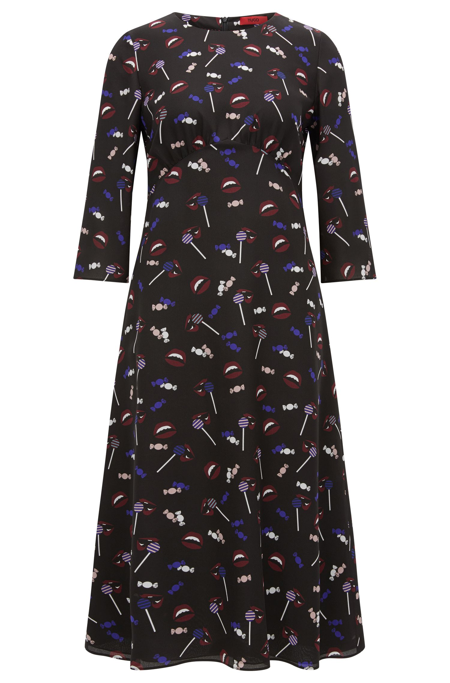 Regular-Fit-Midi-Kleid aus bedruckter Seide