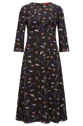 Regular-Fit-Midi-Kleid aus bedruckter Seide, Gemustert