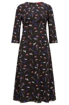 Midi dress in printed silk, Patterned