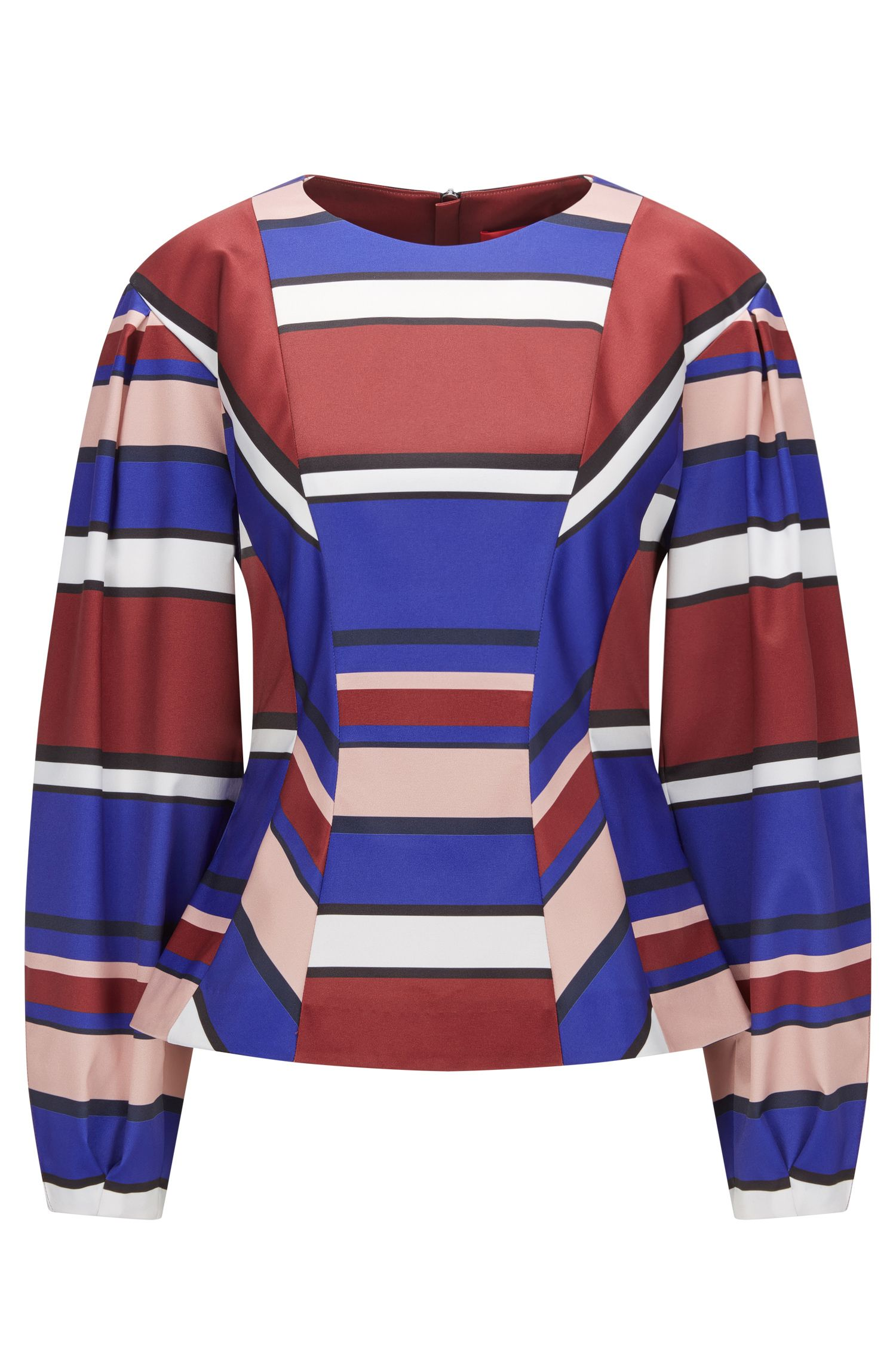 Balloon-sleeved striped top in a stretch technical fabric