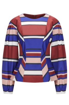 Balloon-sleeved striped top in a stretch technical fabric, Patterned