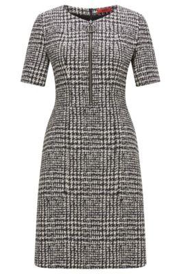 Regular-Fit Kleid aus elastischem Material-Mix mit Baumwolle, Gemustert