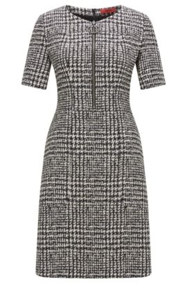 Zip-front dress in checked fabric, Patterned