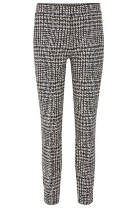 Slim-fit broek met abstract ruitdessin, Bedrukt