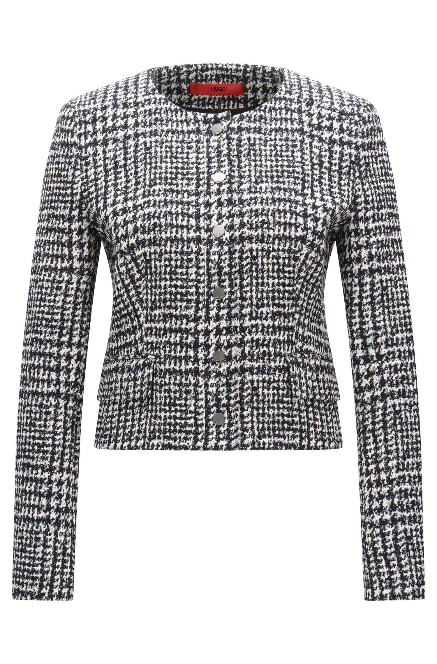Karierte Regular-Fit-Jacke aus elastischem Material-Mix mit Baumwolle