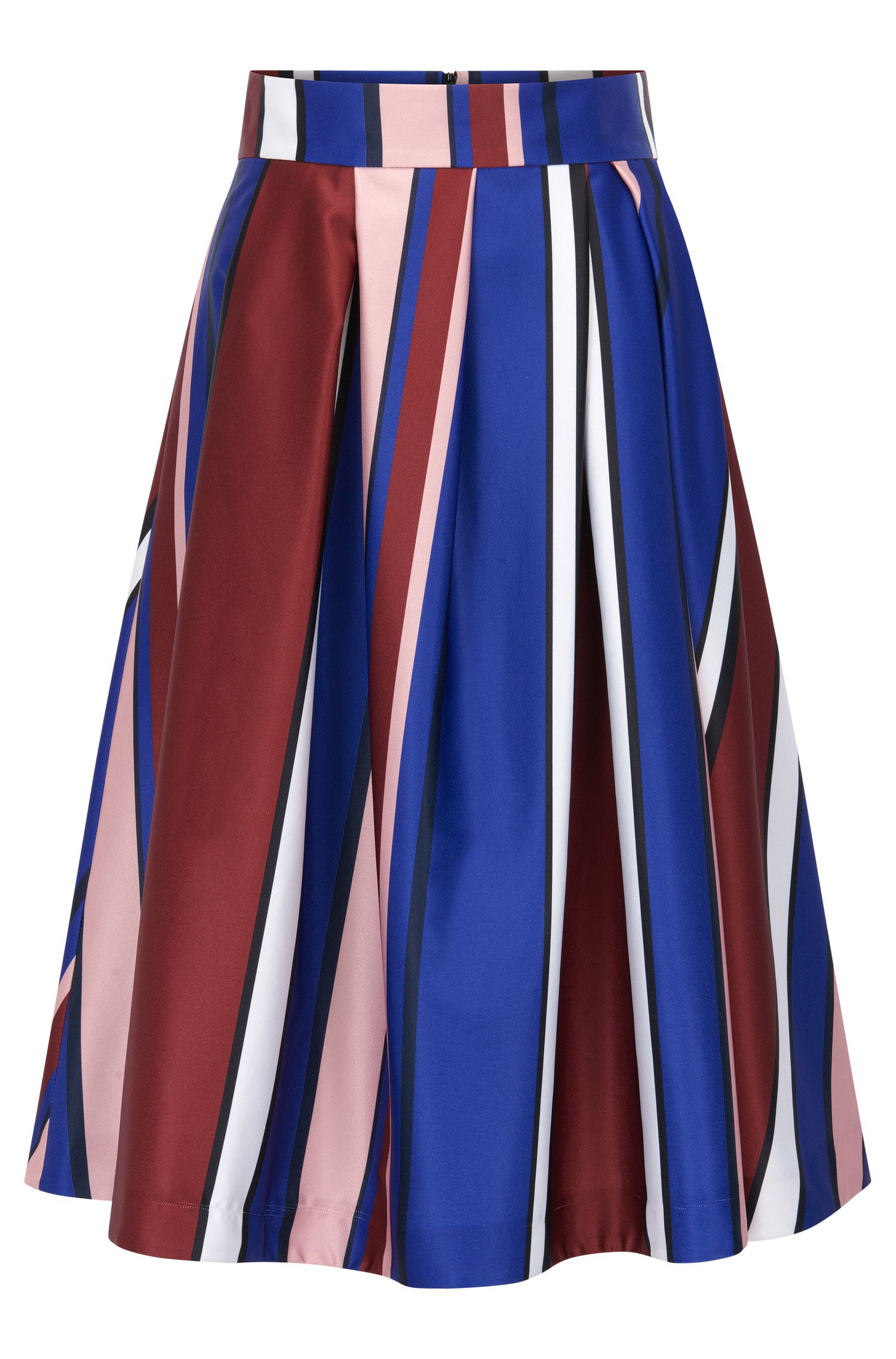 Multi-coloured striped A-line skirt in stretch fabric
