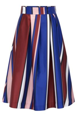Multi-coloured striped A-line skirt in stretch fabric, Patterned