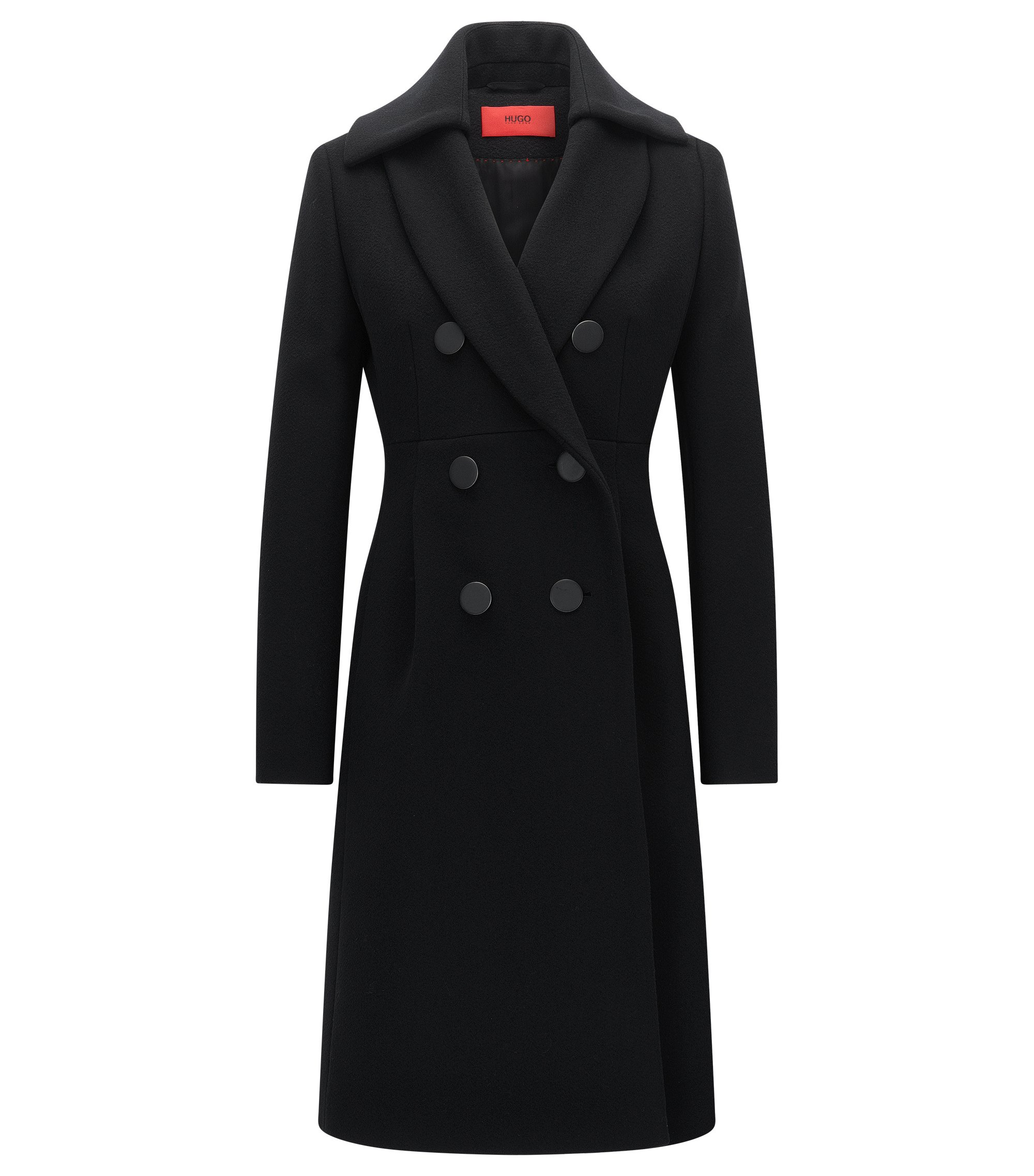 Slim-fit double-breasted coat in a wool blend, Black